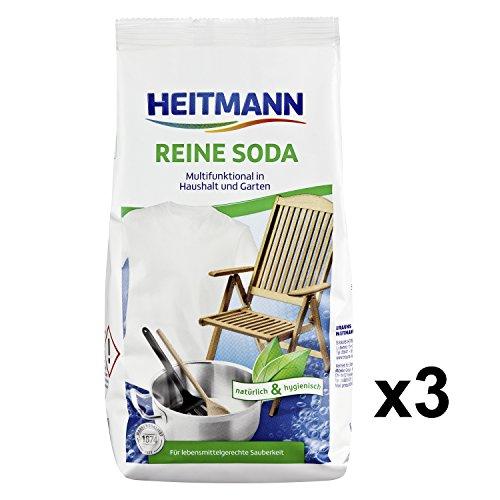 Heitmann Reine Soda 500g, 3er Pack: Vielzweckreiniger für Haushalt, Küche, Bad und Garten - Zugabe zu Spül- und Putzmittel gegen unangenehme Gerüche - ideal bei Grünalgen an Steinplatten, Holzwänden, - Trocken-milch-bad