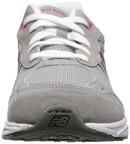 New Balance - Girls 990v3 Grade School Running Shoes Grey with Pink & White