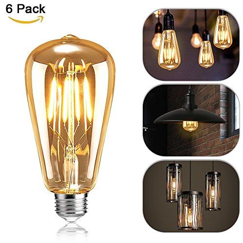 Edison vintage lampadina, mixigoo edison lampada led e274w st64lampadina luce bianco caldo antico retro decorative lampadina ideale per nostalgia e retro illuminazione–6pezzi