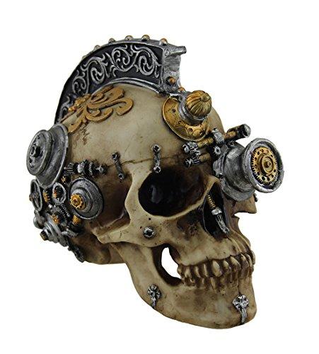 Retro-futuristischen viktorianischen Steampunk Skull in Metallic Mohawk Kopfschmuck