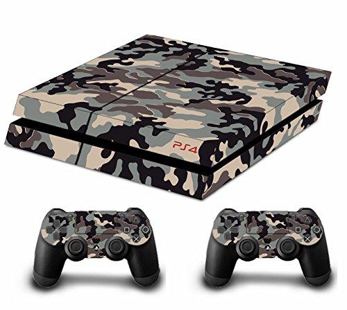Stillshine-Camouflage-Pleins-Skin-Sticker-Faceplates-Pour-Console-PS4-x-1-et-le-manette-x-2-brown
