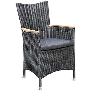 2x bequemer gartensessel malaga aus polyrattan grau meliert inkl sitzkissen und teak armlehne. Black Bedroom Furniture Sets. Home Design Ideas