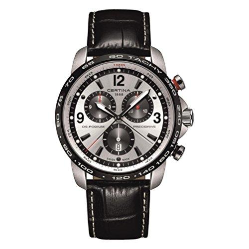 Certina DS Podium Homme Bracelet Cuir Noir Boitier Acier Inoxydable Quartz Montre C001.647.16.037.00