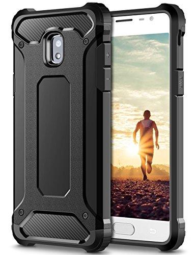 Coolden Samsung Galaxy J5 2017 Hülle, Premium [Armor Serie] Outdoor Stoßfest Schutzhülle Tough Silikon + Hard Bumper Militärstandard Handyhülle für Samsung Galaxy J5 DUOS(Schwarz)