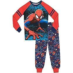 Spiderman Pijamas de Manga Larga para Niños Ajuste Ceñido El Hombre Araña Azul 6-7 Años