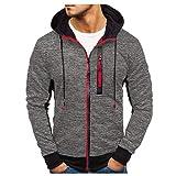 Cardith Herren Herbst Winter Zipper Swearshirt Patchwork Pullover Langarm Sportbekleidung Kapuzenpullover Sweatjacke Reißverschluss