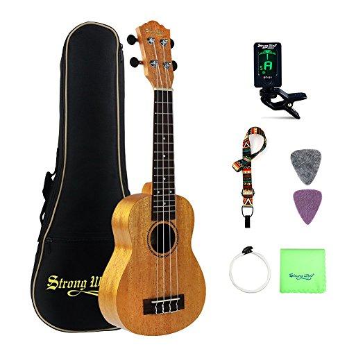 Ukulele Premium Mahogany sopran Bundle 21 Zoll Professional Starter Kit - Strong Wind Instruments