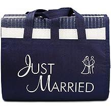 """Materassino da spiaggia """"Just Married"""" - Regalo divertente per gli sposi, materassino a righe con la scritta """"Just Married"""""""