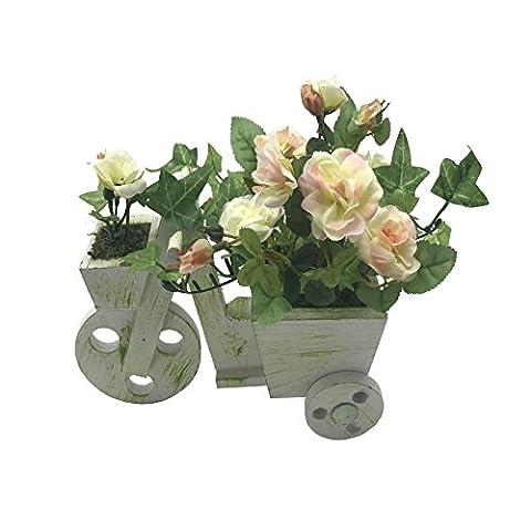ChosenTech künstliche gefälschte Fahrrad Blumen, Holz Fahrrad Kunststoff Blume für Geschenk, Arrangements Braut, Haus, Schlafzimmer, Boden, Garten, Büro, Hochzeit, Party & Decor (Weiß)