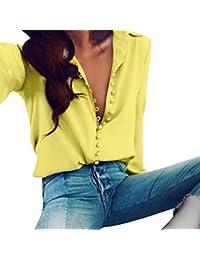 ... Amarillo. ❤ Camisas con Botón Mujer,Modaworld Camisa de Solapa de Manga Larga Blusa sólida