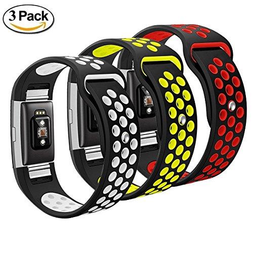 mbrisk Fitbit Charge 2Band, weiches Silica Gel Silikon Ersatz Armband Nike, Sport, Fitness, atmungsaktiv, Gurt Band für Fitbit Charge 2Fitness Wristband für Jungen Mädchen, Frauen, die man (5,1cm (9Zoll), White+Green+Red