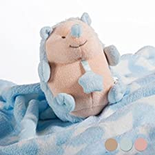 Babydecke mit Kuscheltier - Blau