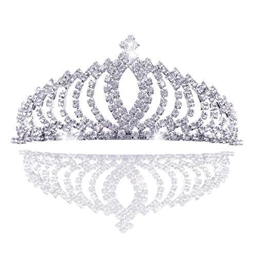 n Krone kristall Königin Diadem Strass Braut Brautjungfern Tiara, Metall Stirnband für Hochzeit Geburtstag Prom Erwachsene Party Kinderparty ()