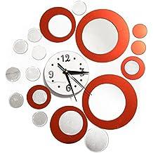 SODIAL Reloj de pared de efecto de espejo de cristal 3D Circular Compuesto DIY Diseno de circulo moderno Rojo