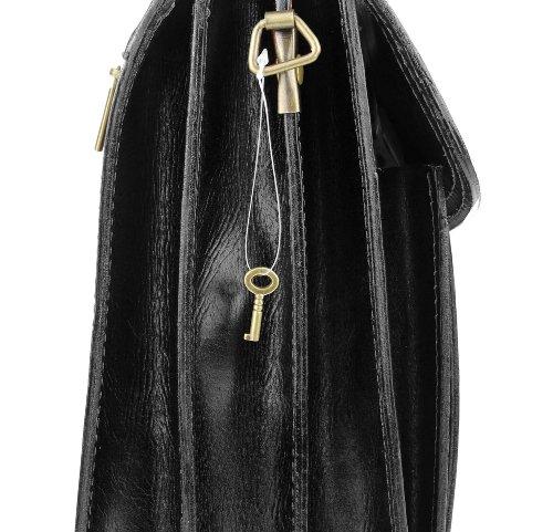 Made in italy sac à bandoulière en cuir unisexe sacoche à bandoulière pour ordinateur portable de format a4, sac à main femme 39 x 28 x 15 cm (l x h x p) Marron - Noir