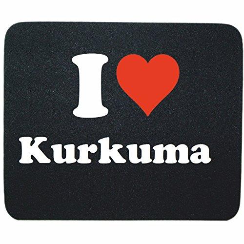 """Preisvergleich Produktbild Exklusive Geschenkidee: Mauspad """"I Love Kurkuma"""" in Schwarz, eine tolle Geschenkidee die von Herzen kommt- Rutschfestes Mousepad- Weihnachts Geschenktipp"""