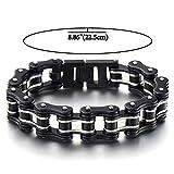 Top-Qualität Herren-Armband Fahrradkette Motorradkette aus Edelstahl Silber Schwarz Zwei Töne Hochglanz Poliert - 2