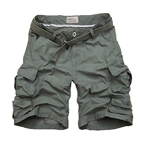 Yonglan uomo pantaloncini corti bermuda cargo short con tasconi laterali con cintura pantaloncini stile militare opzionale esercito verde xl