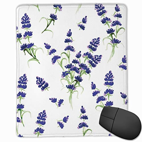 Lavendel Blüte duftende blasse Pflanze Mauspad süße Mauspad Gummi Basis Mousepad mit genähten Rand wasserdicht Büro Mauspad 7 x 8,6 Zoll -