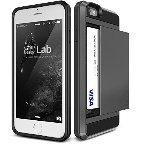 Coque iPhone 6S Plus, VRS Design [Damda Slide][Argent] - [Housse de Protection][Fente pour Carte][Anti Scratch Etui][Anti Chocs Case] Pour Apple iPhone 6/6S Plus Noir