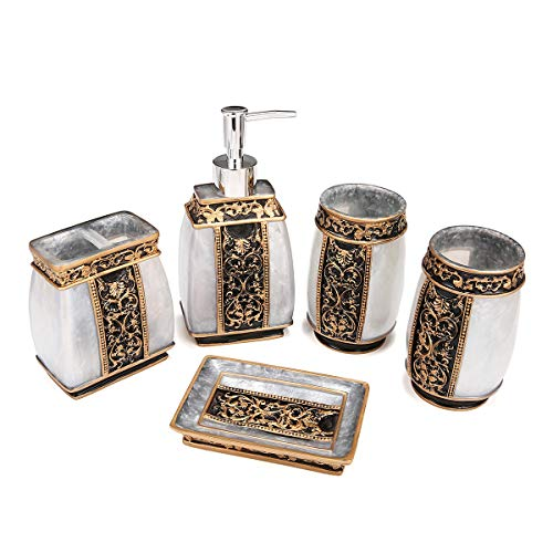 ChaRLes 5 Stücke Badezimmer Zubehör Werkzeuge Kit Harz Lotion Dispenser Tumbler Zahnbürste Seife Teller Halter - Silber -