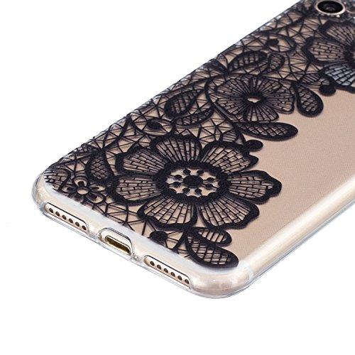 Voguecase® für Apple iPhone 7 Plus 5.5 hülle, Shinning Glitzer Bling Silikon Schutzhülle Hülle Stoßfest Kratzfeste Soft TPU Bumper Case Cover (Rot) + Gratis Universal Eingabestift Lace Blume 05/Schwarz