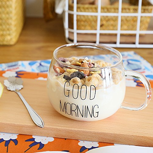 Damlonby Le petit-déjeuner est servi dans un verre transparent de tasse de jus de l'eau poignée tasse avec couvercle résistant aux hautes températures matin tasse de thé, de l'épaisseur des monticules de lettres noires - sans la couverture d