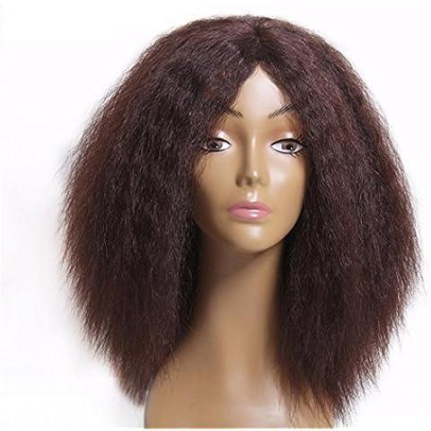 24 pollici 100 capelli umani pizzo di Yaki parte anteriore del merletto parrucca piena # 1B