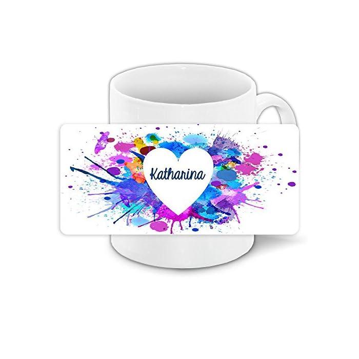 Tasse zum Valentinstag mit Namen Katharina und schönem Motiv mit Wasserfarben-Herz - Liebestasse Keramiktasse Freundschafts-Tasse 1