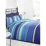 Signature cama de matrimonio 2Funda de edredón y de almohada, diseño de rayas, color azul marino/azul/verde/blanco, doble