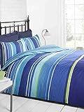 Signature Bettwäscheset, gestreift, Bett- und Kissenbezug, blau, hellblau, grün, weiß, Einzelbett