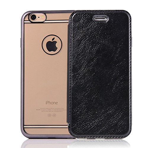 """HYAIT® For IPHONE 6 PLUS 5.5"""" Case[Credit Card Slots][Half Cover] Dual Layer Hybrid Armor Rugged Plastic Hard Shell Flexible TPU Bumper Protective Cover-BLACK BLACK"""