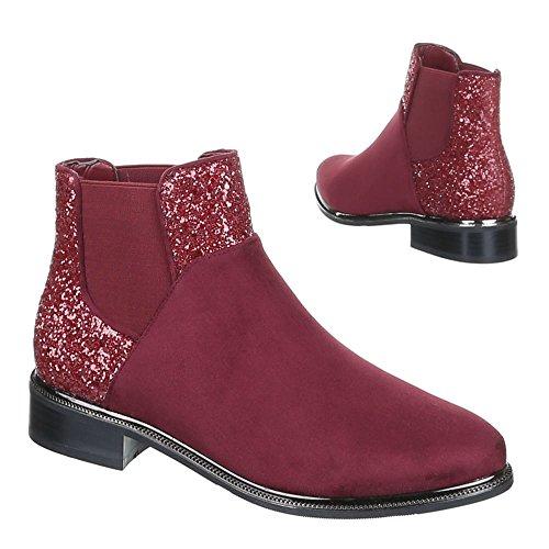 Damen Schuhe Stiefeletten Ankle Boots Schwarz Braun Rot 36 37 38 39 40 41 Rot