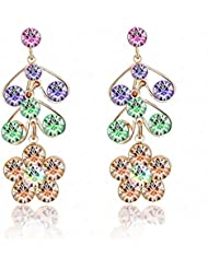 Daesar Joyería Pendientes de Oro, Chapado en Oro Flor Circonita Cubic Zirconia Zarcillo Arito para Mujer