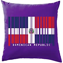 """République dominicaine Barcode Style Drapeau Coussin–41x 41cm (40,6cm)–10couleurs, 100 % coton, mauve, 41 x 41cm (16"""")"""