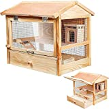 Melko Nagerkäfig Hamsterkäfig Kleintierkäfig Mäusekäfig aus unbehandeltem Holz, 48 x 45 x 34 cm, inkl. Haus, Kletterrampe und Schlafkiste