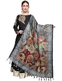 Mrinalika Fashion Cotton Silk Digital Print Dupatta (Dupattas For Womens _Salwar Suit Dgdpt13_Grey_Free Size)