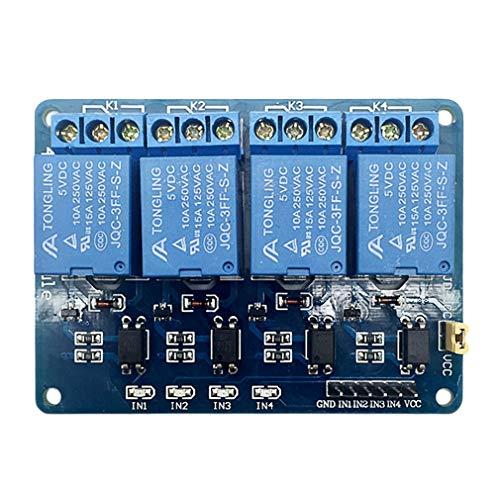 Leoboone Blau 7.5 * 5.5 * 1.8cm 5V 4-Kanal-Relaismodul Schild Relais-Erweiterungsplatine für Raspberry Pi ARM AVR DSP PIC Micro-Controller (Micro Pic)