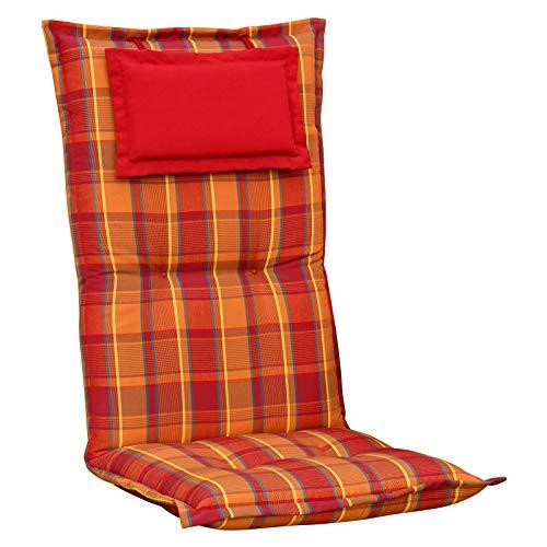Kettler Polen K2136 Gartenpolster mit Kopfkissen in Rot-Orange gestreift Sessel Auflagen Polster Kissen