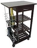 Carrello da cucina in legno noce marrone con porta bottiglie cassetto e ruote 3 piani per verdura frutta vivande casa salotto