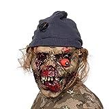 AivaToba Máscara de látex para Halloween, Horror Cara Podrida Máscara de Zombie Grimace, Máscara de Broma Fiesta de Disfraces de Halloween de Miedo Cara tenebrosa