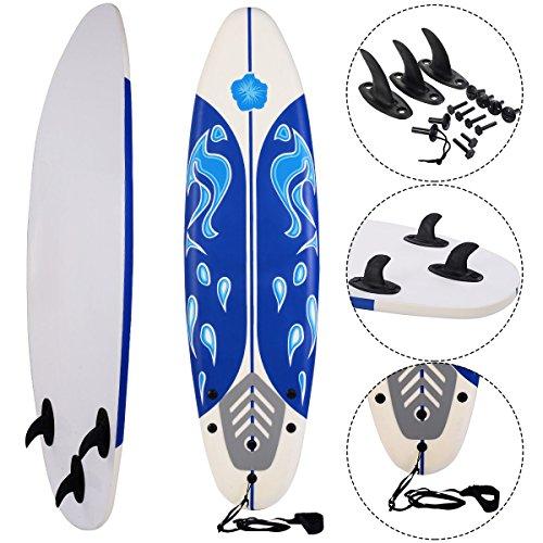 COSTWAY Surfbrett Surfboard Stand Up 6\' Funboard Shortboard Wellenreiter 182x 50x 8cm Farbwahl (Weiss)