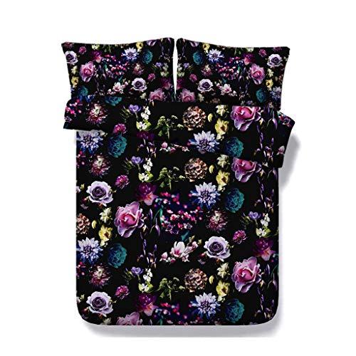 Floral Soft Black Bettwäsche Set Blossom Tröster Bettbezug Garten Blume Bettbezug Schmetterling Bettdecke Frauen Mädchen Bunte Rose Bettdecke (Farbe : Garden Duvet, größe : Cal King) -