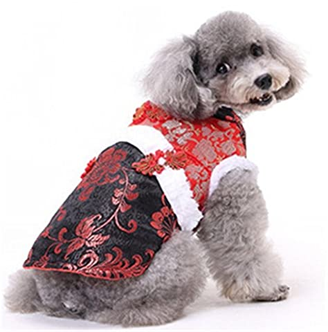 Stillshine Pet dog cat clothes Tang suit New Year dress (S, Red Black)