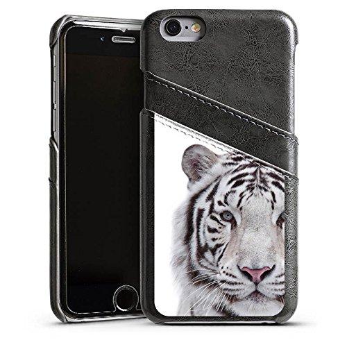 Apple iPhone 5s Housse étui coque protection Tigre des neiges Blanc Blanc Étui en cuir gris