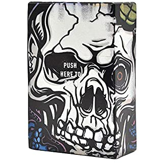 AmaMary 1 PCS Plastic Creative Skull Pattern Cigarette Case with Automatic Cover Cigarette Box Holds 20 Cigarettes (A)