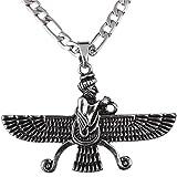 Groß Doppelseitig Silber PT fatvahar faravahar Halskette Kette iranischen Persischen Geschenk, silber, Large