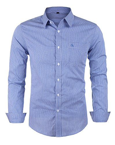 Schonlos Herren Langarm Hemd Popeline kariert SLIM FIT klassisches Businesshemd Freizeithemd (Blau, XL)