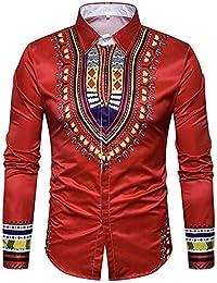 HuaDingTech Versaces Algodón Hombres Camisa Moda Clásico Retro Ocio Palacio  Folk-Personalizado Impresión de Solapa a660d335ba3