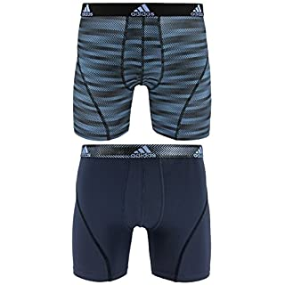 adidas Men's Sport performance climalite graphic boxer brief (2 Pack), Blue Ratio Urban Sky Ratio, Large